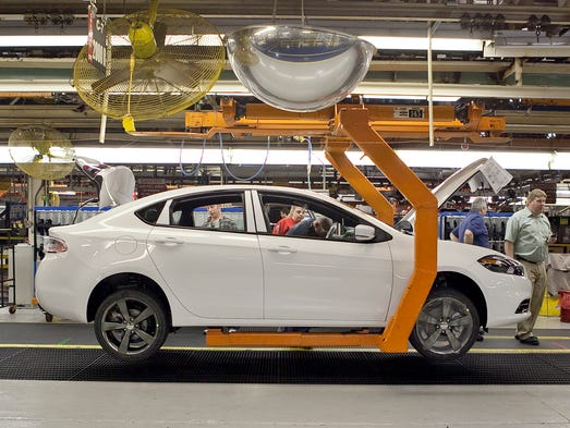 A 2013 Dodge Dart on the assembly line at Chrysler
