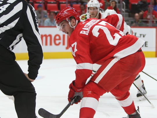 Red Wings' Michael Rasmussen during action against