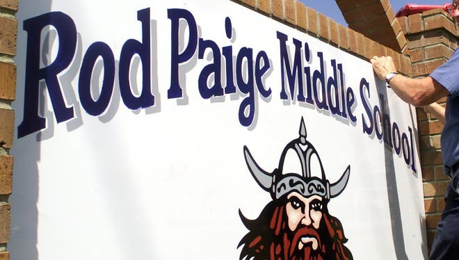 This file photo shows Monticello Middle School being renamed Rod Paige Middle School for the then Secretary of Education in 2001.