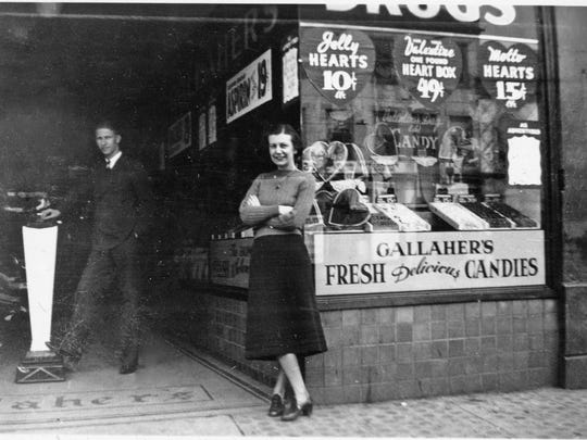 Pete Tague and Jane Misamore taking a break from work at Gallaher's Drug Store on Main Street in Lancaster, 1938.