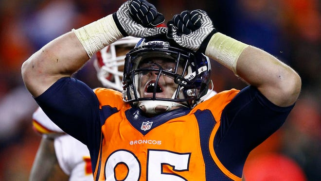 Denver Broncos defensive end Derek Wolfe will miss the Kansas Chiefs game Sunday after falling ill on the team bus.
