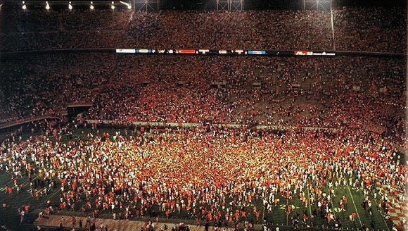 The fans stormed the field at Neyland Stadium after