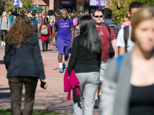 Students walk between classes at Grand Canyon University