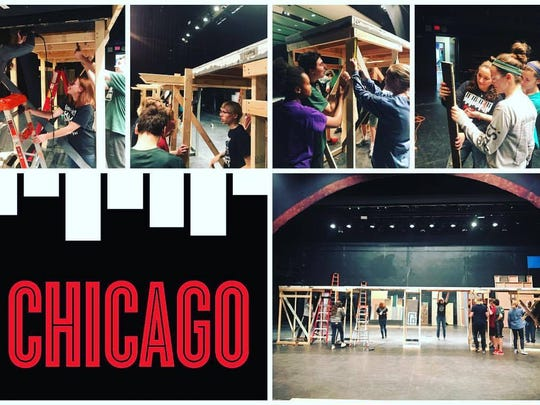 The Wauwatosa West Trojan Players Tech Crew of students creating the stage for the production of Chicago.