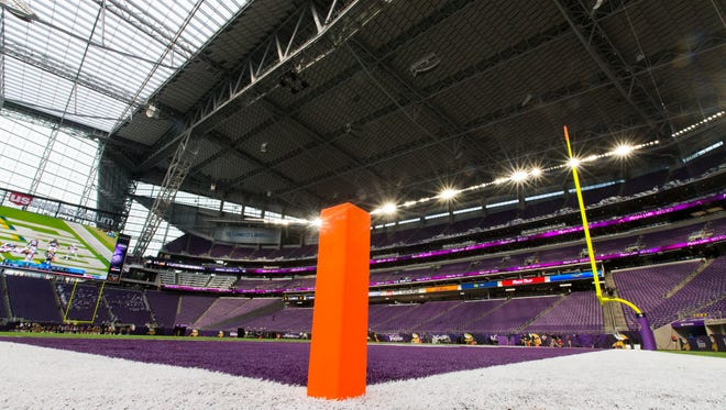 The field is shown at U.S. Bank stadium before the Minnesota Vikings - Green Bay Packers game Sunday, September 18, 2016 in Minneapolis.