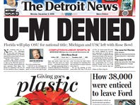 The front page of The Detroit News on Dec. 4, 2006.