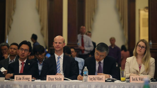 China and US economic and political scholars discuss the relationship between the two countries during a US-China Think Tank Symposium on Monday, June 12, 2017, at the World Food Prize building.