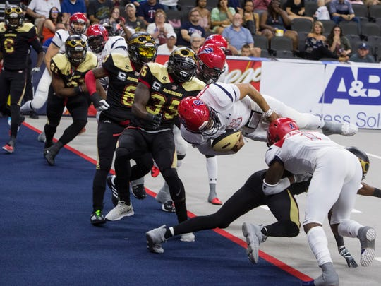 Lorenzo Brown (8) of the Sioux Falls Storm dives into