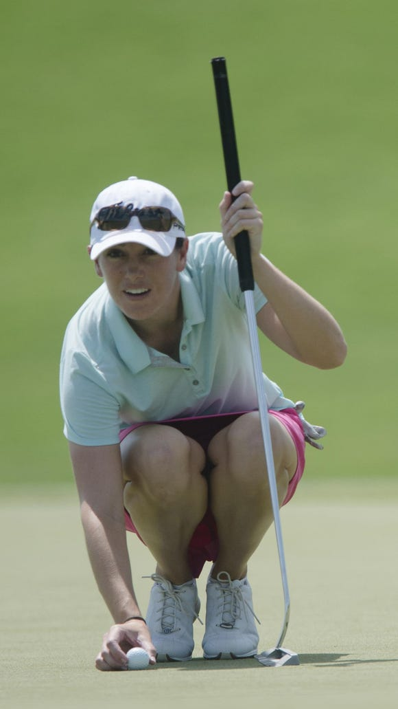 Karlin Beck lines up her putt on hole 1 during the 2015 Yokohama Tire LPGA Classic at the Robert Trent Jones Capitol Hill golf course on Thursday, Aug. 27, 2015 in Prattville, Ala.