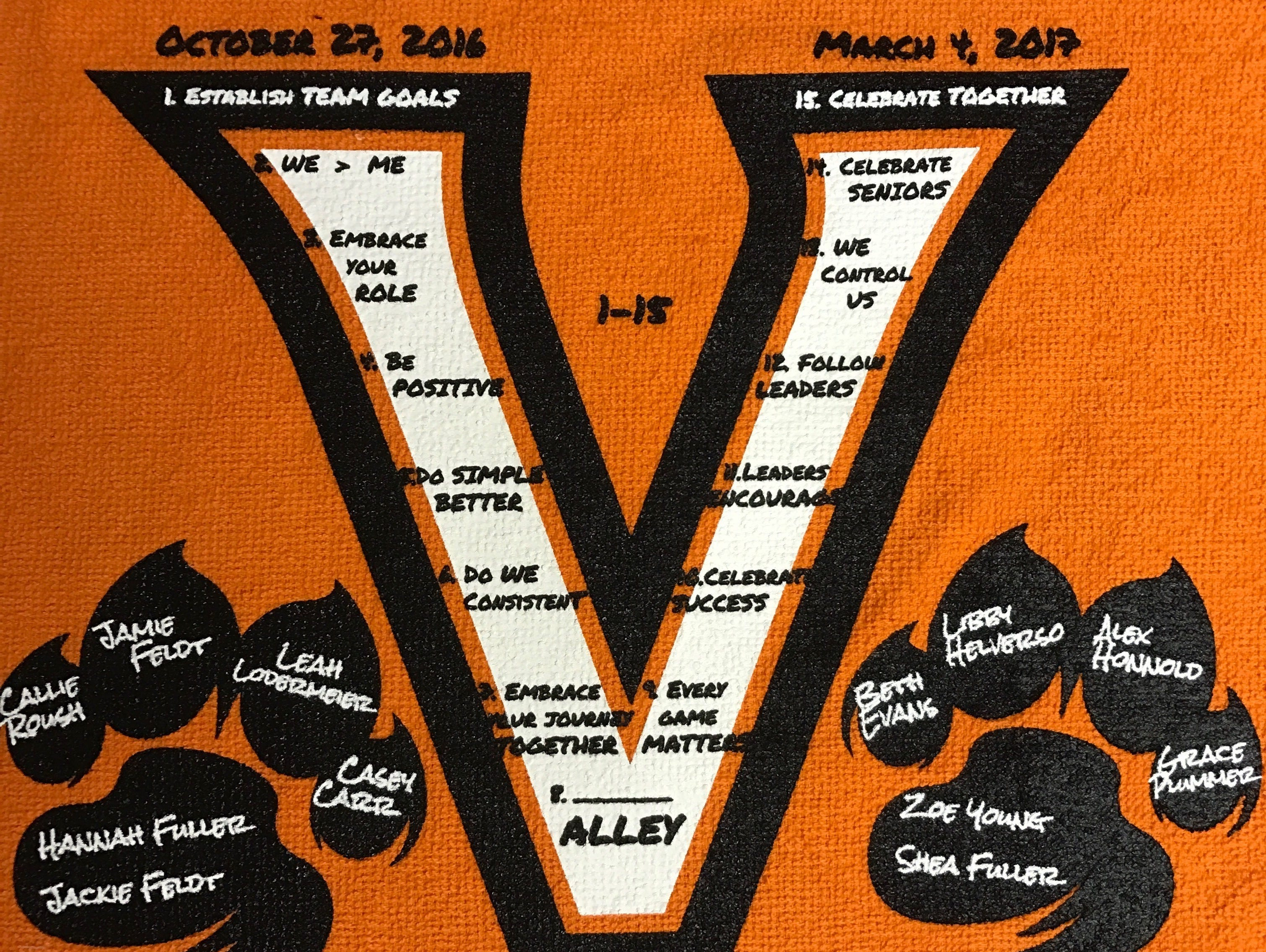 One of the towels Valley head coach Joe Sigrist had made for his girls basketball team. There are 15 team goals and mottos inside the V.