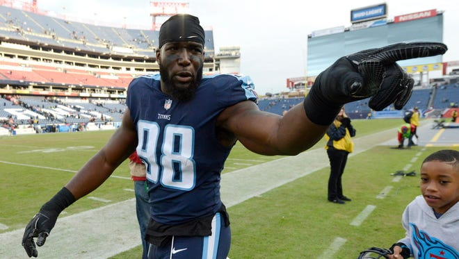 Titans linebacker Brian Orakpo walks off the field after the team's 24-20 win over the Bengals on Sunday at Nissan Stadium.