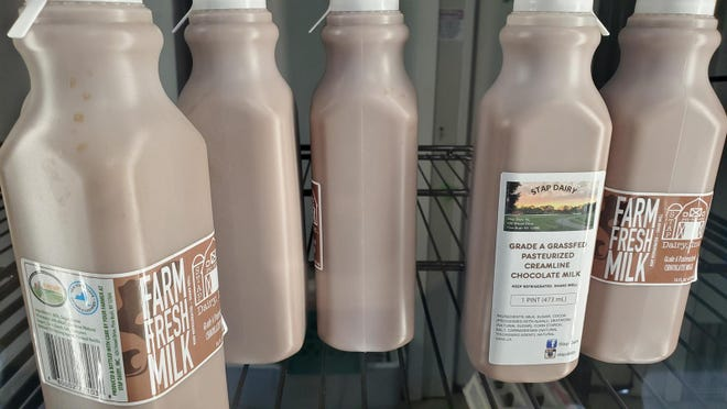 The Stap Dairy Farm in Pine Bush operates a small store where they sell white and chocolate milk.