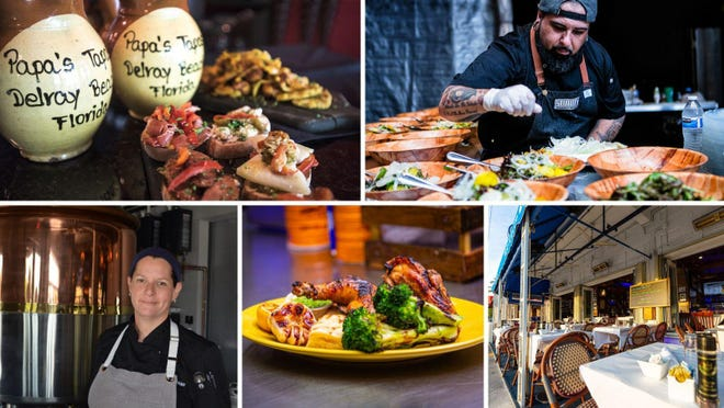 The Socially Distanced Supper Club, a Delray-based effort to support local restaurants, is hoping to drive business to featured establishments like (clockwise from top left) Papa's Tapas, 3rd and 3rd pub (chef Emerson Frisbie shown), Crazy Uncle Mike's (chef Tara Abrams shown), Flybird and Caffe Luna Rosa.