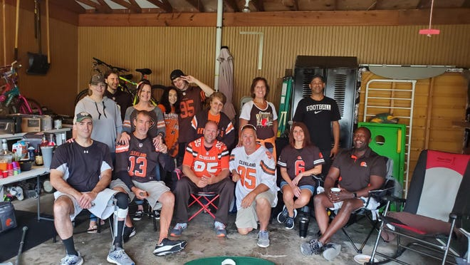 While trips to NFL games are on hold, a group of area fans got together for a backyard/driveway tailgate party on Sunday before the Browns' season opener. The Browns opened play with an AFC North battle at Baltimore. Check out results of the game, as well as other NFL action in our sports section on Page B1 or at TimesReporter.com.