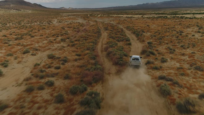The new Ford Bronco prototype is tested off-road in the Mojave Desert's Johnson Valley.