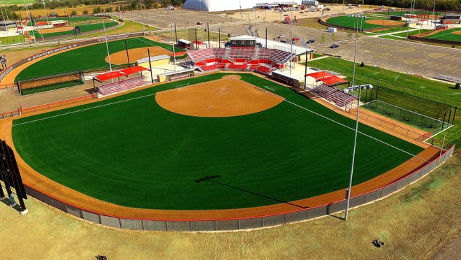 An overhead shot of Peterson Hotels Field at Louisville Slugger Sports Complex in Peoria. The Illinois High School Association's softball state finals are moving here starting in 2021.