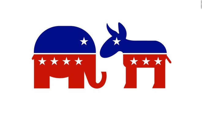 The Republican and Democratic Party symbols, as pictured.