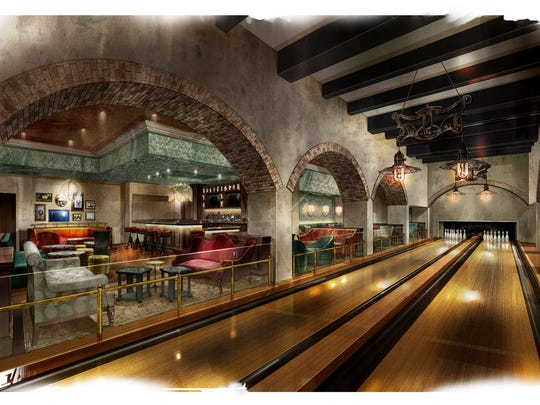 Provided rendering of the Speakeasy with a bowling lanes and Prohibition-era drinks at the Omni Louisville Hotel.