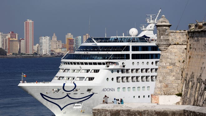 Cruise ship Adonia, from the new Carnival's Fathom line, arrives in Havana on May 2, 2016.