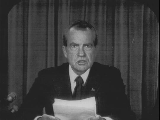 President Richard Nixon appears on national television on Aug 8, 1974 to announce his resignation.