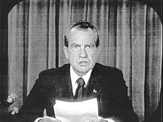 President Richard M. Nixon appears on national television