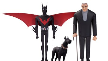 """Batman, Ace and Bruce Wayne from """"Batman Beyond"""" are part of a new expansion of the Batman animated toy line from DC Collectibles."""