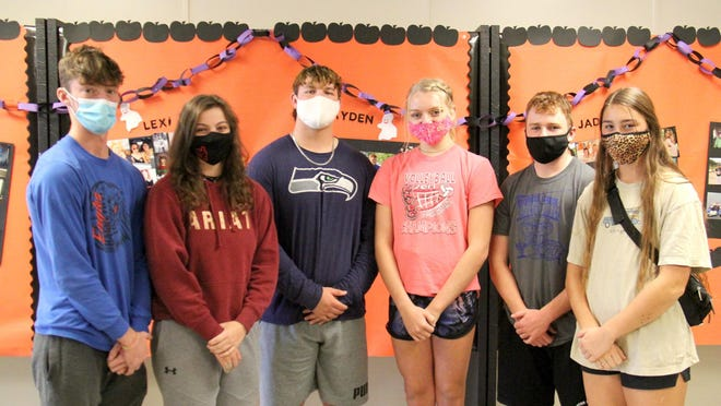 The 2020 Wellsville High School homecoming king and queen candidates, from left, are Zeb Harris, Jaiden Doles, Colby Stephens, Jadyn Troutman, Ayden Kearney and Alexis McDaniel. The coronation ceremony will take place at 2:30 p.m. Saturday at the football stadium before the football game.