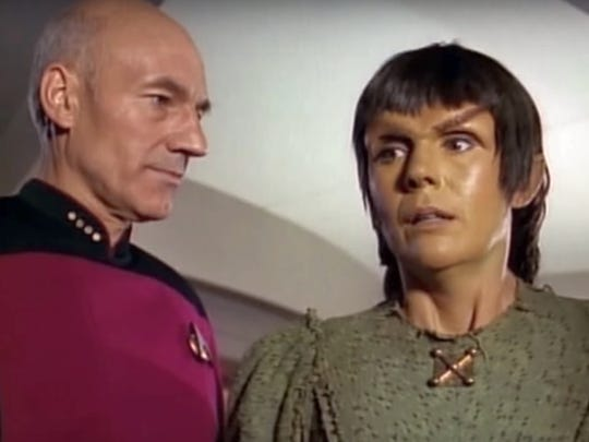 Patrick Stewart and Kathryn Leigh Scott in Star Trek The Next Generation episode Who Watches the Watchers - screenshot