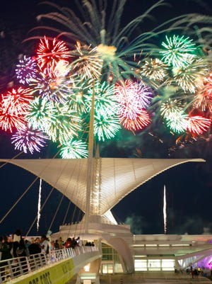 The U.S. Bank Fireworks Show lights up the sky over the Milwaukee Art Museum along Lake Michigan in 2017.