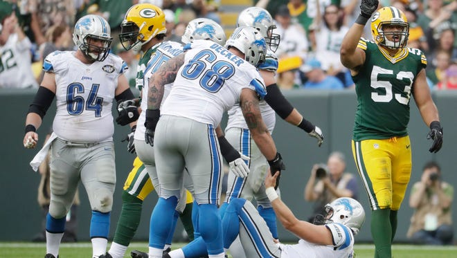 Green Bay Packers' Nick Perry celebrates after sacking Detroit Lions quarterback Matthew Stafford during the second half of an NFL football game Sunday, Sept. 25, 2016, in Green Bay, Wis.