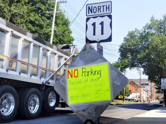 Parking is restricted along sections of South Second Street from 5 a.m. to 7 p.m. through Wednesday as PennDOT milling and paving work on U.S. 11 continues in Chambersburg.