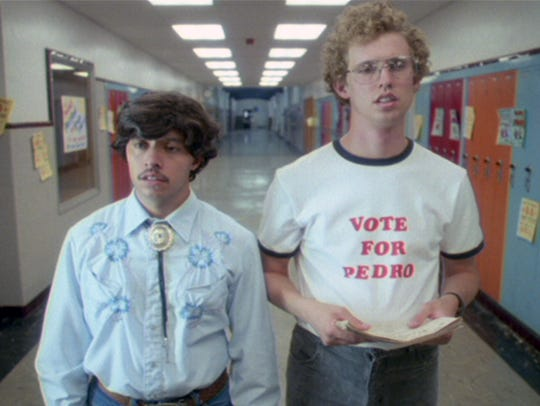 "Efren Ramirez (left) and Jon Heder (in the 2004 movie) bring ""Napoleon Dynamite"" to the Riverside Theater."