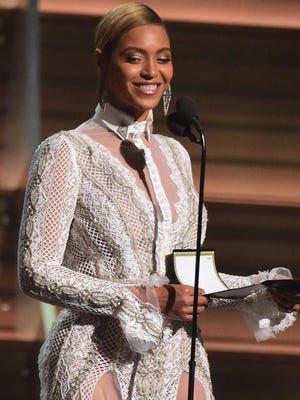Beyonce speaks onstage during the 58th Annual Grammy music Awards in Los Angeles on Feb. 15, 2016.
