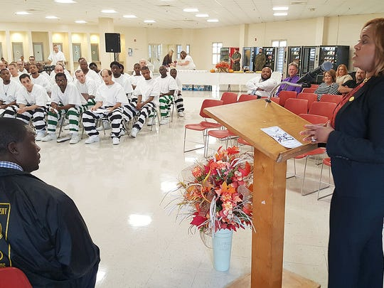 MDOC Commissioner Pelicia Hall addresses the graduates