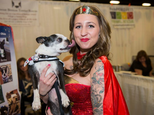 The 6th annual My Furry Valentine pet adoption show was held at the Sharonville Convention Center.  There were hundreds of adoptable dogs and cats available at the show. Gibbs, a 13-year-old Boston terrier, is with Wonder Woman.