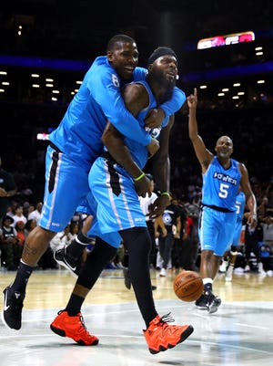 Deshawn Stevenson of Power celebrates with teammates after defeating Tri-State during week one of the BIG3 basketball league at Barclays Center.