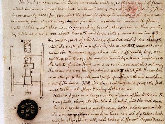 Notes by Thomas Jefferson on how to build a pasta maker.