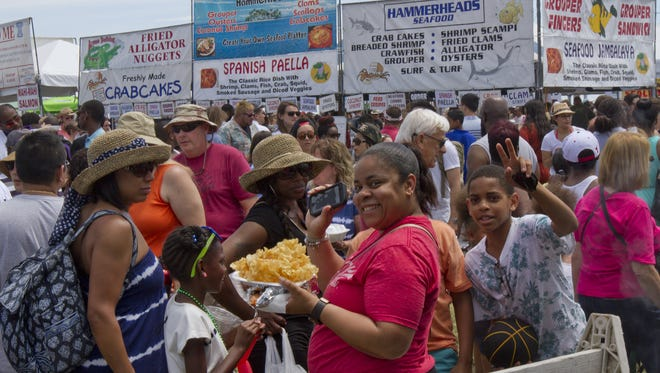 Part of the big crowd at the  annual new Jersey  Seafood Festival in Belmar  on Saturday, June 13, 2015.