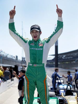 Kyle Kaiser (18) celebrates winning the Indy Lights Grand Prix of Indianapolis Saturday, May 13, 2017, at the Indianapolis Motor Speedway.
