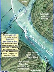 2015 Bing.com aerial view of Conewago Falls area of