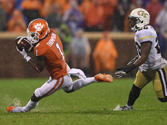 Clemson wide receiver Trevion Thompson (1) catches