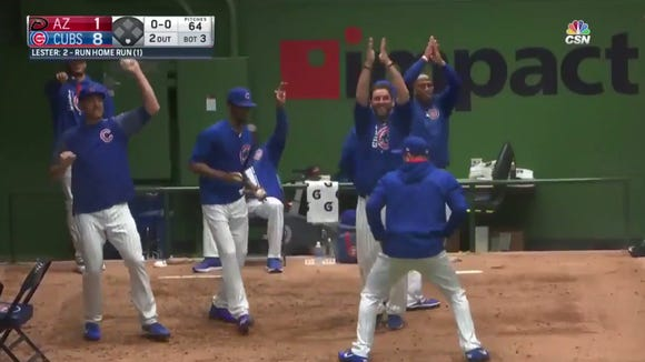 Jon Lester's first-career home run sparked a hysterical dance party in the Cubs bullpen
