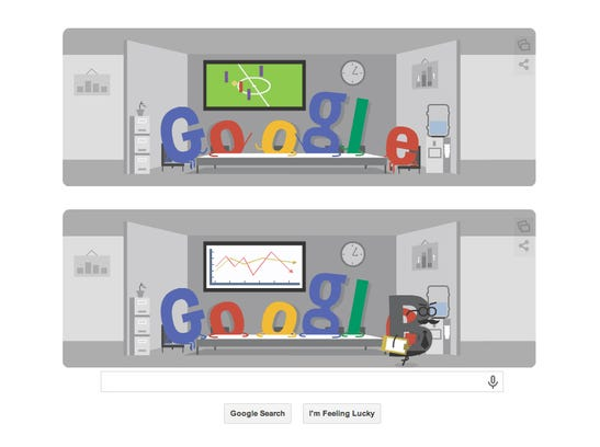 Google's Doodle today shows what happens in many office conference rooms packed with soccer fans for the World Cup, when the boss wanders by.