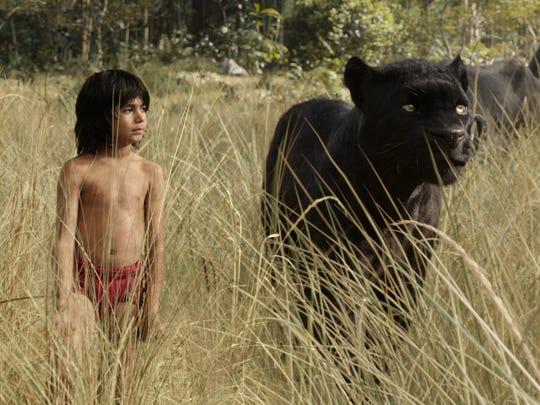 Mowgli (newcomer Neel Sethi) and Bagheera (voice of