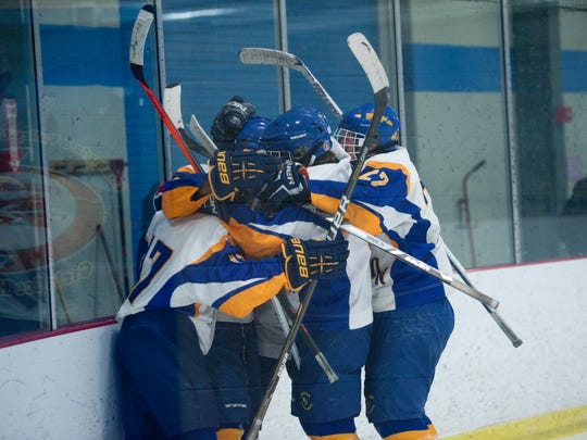 Milton celebrates the first goal of the game against Middlebury during a game at Cairns Arena last season.