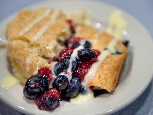 McGovern has a $7 per head budget, so he uses ingredients like pancake mix in his fresh berry clafoutis with creme anglaise.
