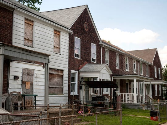 The 2800 block of Idaho Avenue in the Fairview section of Camden, a boarded-up abandoned rowhome sits five doors away from Mayor Dana Redd's home on Thursday, August 28, 2014.