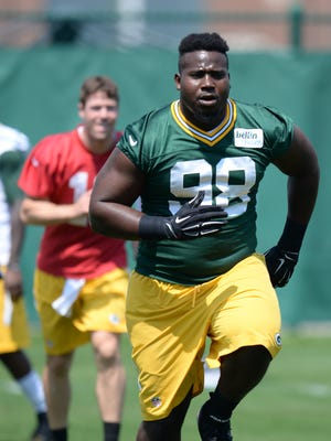 Green Bay Packers defensive lineman Letroy Guion during Organized Team Activities at Clarke Hinkle Field May 28, 2015.