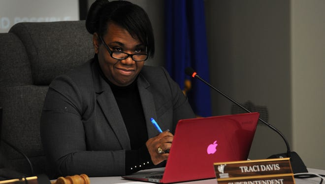 Superintendent Traci Davis listens to a speaker during a Washoe County School District board meeting regarding her employment contract in Reno on Nov. 24, 2015.
