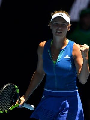 Caroline Wozniacki celebrates against Donna Vekic during Round 2 of the Australian Open.